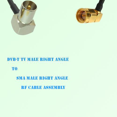DVB-T TV Male Right Angle to SMA Male Right Angle RF Cable Assembly
