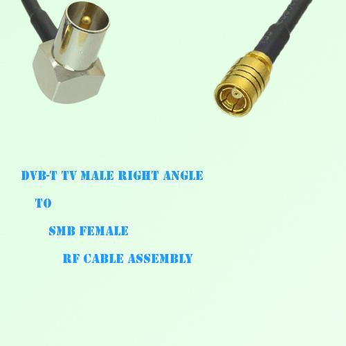 DVB-T TV Male Right Angle to SMB Female RF Cable Assembly