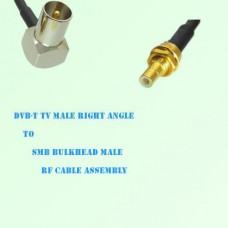 DVB-T TV Male Right Angle to SMB Bulkhead Male RF Cable Assembly