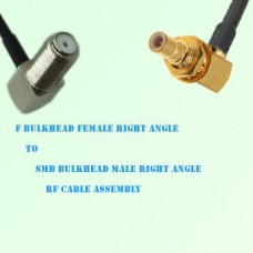 F Bulkhead Female R/A to SMB Bulkhead Male R/A RF Cable Assembly