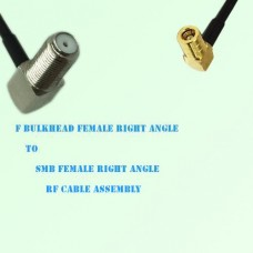 F Bulkhead Female R/A to SMB Female R/A RF Cable Assembly