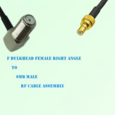 F Bulkhead Female Right Angle to SMB Male RF Cable Assembly