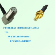 F Bulkhead Female Right Angle to SMB Bulkhead Male RF Cable Assembly