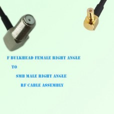 F Bulkhead Female R/A to SMB Male R/A RF Cable Assembly