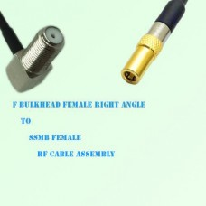 F Bulkhead Female Right Angle to SSMB Female RF Cable Assembly