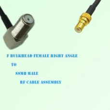 F Bulkhead Female Right Angle to SSMB Male RF Cable Assembly