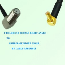 F Bulkhead Female R/A to SSMB Male R/A RF Cable Assembly