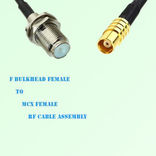 F Bulkhead Female to MCX Female RF Cable Assembly