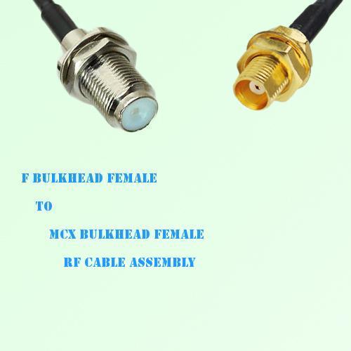 F Bulkhead Female to MCX Bulkhead Female RF Cable Assembly