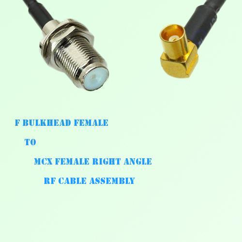 F Bulkhead Female to MCX Female Right Angle RF Cable Assembly
