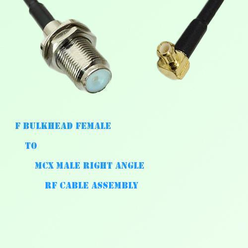 F Bulkhead Female to MCX Male Right Angle RF Cable Assembly