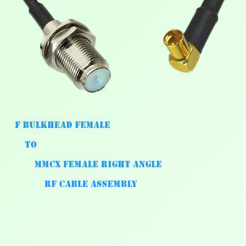 F Bulkhead Female to MMCX Female Right Angle RF Cable Assembly