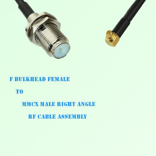 F Bulkhead Female to MMCX Male Right Angle RF Cable Assembly