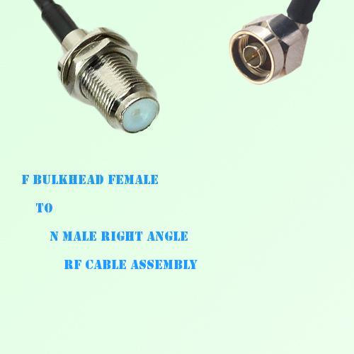F Bulkhead Female to N Male Right Angle RF Cable Assembly