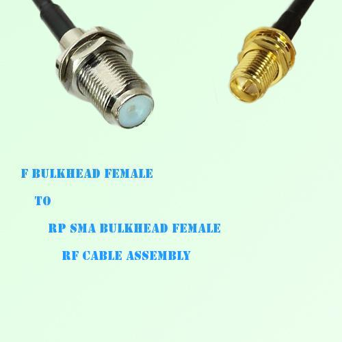 F Bulkhead Female to RP SMA Bulkhead Female RF Cable Assembly