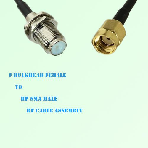 F Bulkhead Female to RP SMA Male RF Cable Assembly