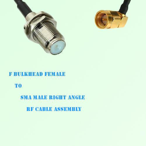 F Bulkhead Female to SMA Male Right Angle RF Cable Assembly
