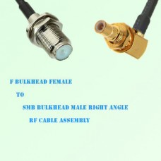 F Bulkhead Female to SMB Bulkhead Male Right Angle RF Cable Assembly