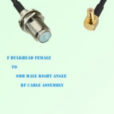 F Bulkhead Female to SMB Male Right Angle RF Cable Assembly