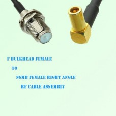 F Bulkhead Female to SSMB Female Right Angle RF Cable Assembly