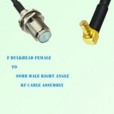 F Bulkhead Female to SSMB Male Right Angle RF Cable Assembly