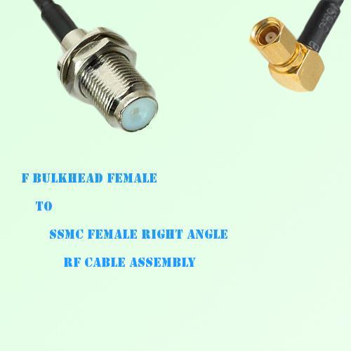 F Bulkhead Female to SSMC Female Right Angle RF Cable Assembly