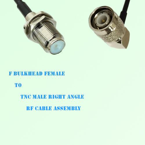 F Bulkhead Female to TNC Male Right Angle RF Cable Assembly
