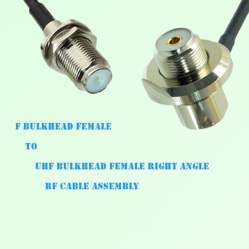 F Bulkhead Female to UHF Bulkhead Female Right Angle RF Cable Assembly