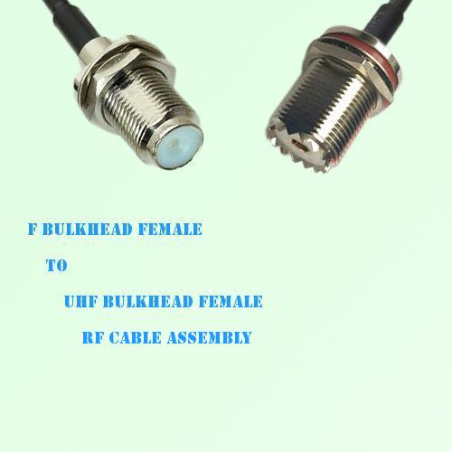 F Bulkhead Female to UHF Bulkhead Female RF Cable Assembly
