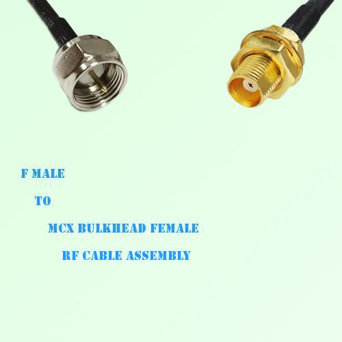 F Male to MCX Bulkhead Female RF Cable Assembly