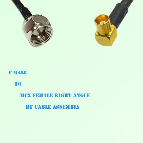 F Male to MCX Female Right Angle RF Cable Assembly