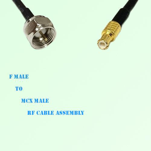 F Male to MCX Male RF Cable Assembly