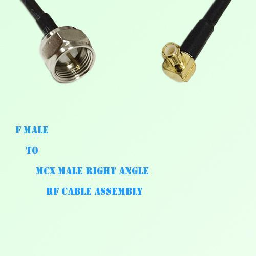 F Male to MCX Male Right Angle RF Cable Assembly