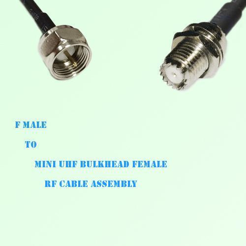 F Male to Mini UHF Bulkhead Female RF Cable Assembly