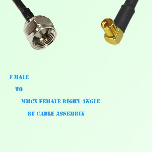 F Male to MMCX Female Right Angle RF Cable Assembly