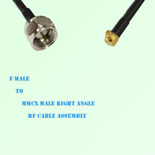 F Male to MMCX Male Right Angle RF Cable Assembly