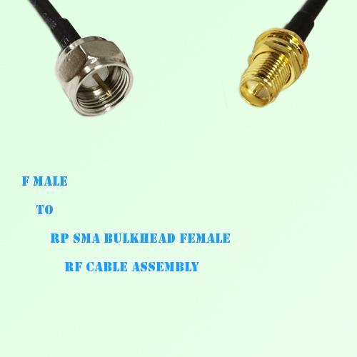 F Male to RP SMA Bulkhead Female RF Cable Assembly