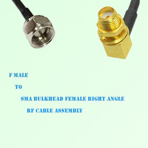 F Male to SMA Bulkhead Female Right Angle RF Cable Assembly