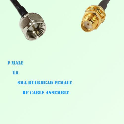 F Male to SMA Bulkhead Female RF Cable Assembly