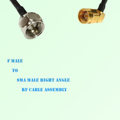 F Male to SMA Male Right Angle RF Cable Assembly