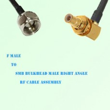 F Male to SMB Bulkhead Male Right Angle RF Cable Assembly