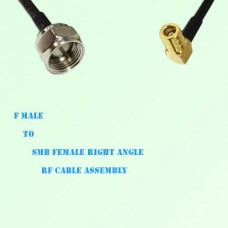 F Male to SMB Female Right Angle RF Cable Assembly