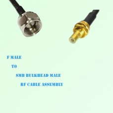 F Male to SMB Bulkhead Male RF Cable Assembly