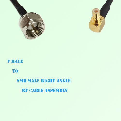 F Male to SMB Male Right Angle RF Cable Assembly