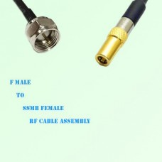 F Male to SSMB Female RF Cable Assembly