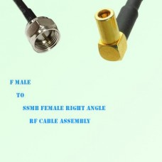 F Male to SSMB Female Right Angle RF Cable Assembly