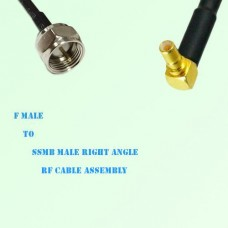 F Male to SSMB Male Right Angle RF Cable Assembly