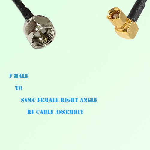 F Male to SSMC Female Right Angle RF Cable Assembly