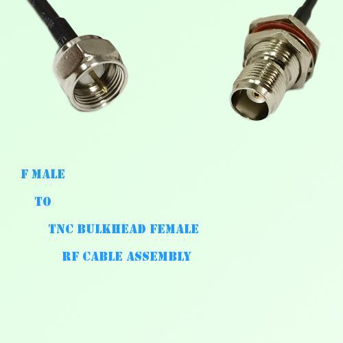 F Male to TNC Bulkhead Female RF Cable Assembly