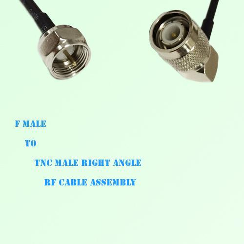 F Male to TNC Male Right Angle RF Cable Assembly